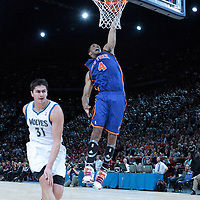 06 October 2010: New York Knicks forward Anthony Randolph #4 goes for the dunk during the Minnesota Timberwolves 106-100 victory over the New York Knicks, during 2010 NBA Europe Live, at the POPB Arena in Paris, France.