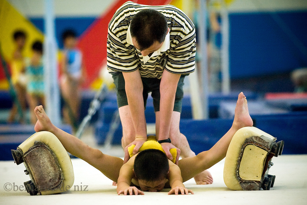 Chinese young Athletes train at the Beijing Shichahai sports schoo. Beijing, China
