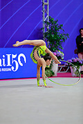 Meleshchuk Yeva during the qualification of the hoop at the Pesaro World Cup 2018.<br /> She is a Ukrainian gymnast born in Kyiv in 2001.