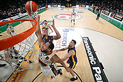 NIKON D3 • Samyang 14mm f/2.8 ED AS NCS CS<br /> f/4 • ISO 2500 • 1/800<br /> <br /> Tarczewski Kaleb Erick <br /> A|X Armani Exchange Milano - Umana Reyer Venezia <br /> LBA Final Eight 2020 Zurich Connect - Semifinale<br /> Basket Serie A LBA 2019/2020<br /> Pesaro, Italia - 15 February 2020<br /> Foto Mattia Ozbot / CiamilloCastoria