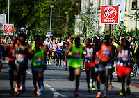 The Virgin Money London Marathon 2014<br /> 13 April 2014<br /> Photo: Javier Garcia/Virgin Money London Marathon<br /> media@london-marathon.co.ukMo Farah falls behind the pack in the Elite Men's race at theThe Virgin Money London Marathon 2014 on Sunday 13 April 2014<br /> Photo: Javier Garcia/Virgin Money London Marathon<br /> media@london-marathon.co.uk
