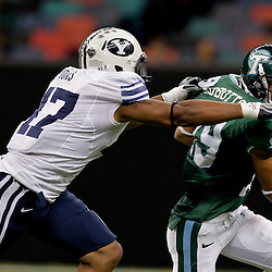 Sep 12, 2009; New Orleans, LA, USA;  Tulane Green Wave wide receiver Casey Robottom (19) runs from BYU Cougars linebacker Terrance Hooks (47)during the first half at the Louisiana Superdome.  BYU defeated Tulane 54-3. Mandatory Credit: Derick E. Hingle-US PRESSWIRE