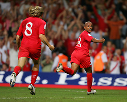 CARDIFF, WALES - Wednesday, September 8, 2004: Wales' Robert Earnshaw celebrates after score the equalising goal against Northern Ireland during the Group Six World Cup Qualifier at the Millennium Stadium. (Pic by David Rawcliffe/Propaganda)