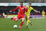 Aryan Tajbakash and George Lloyd during the EFL Sky Bet League 2 match between Crawley Town and Cheltenham Town at the Checkatrade.com Stadium, Crawley, England on 24 March 2018. Picture by Antony Thompson.