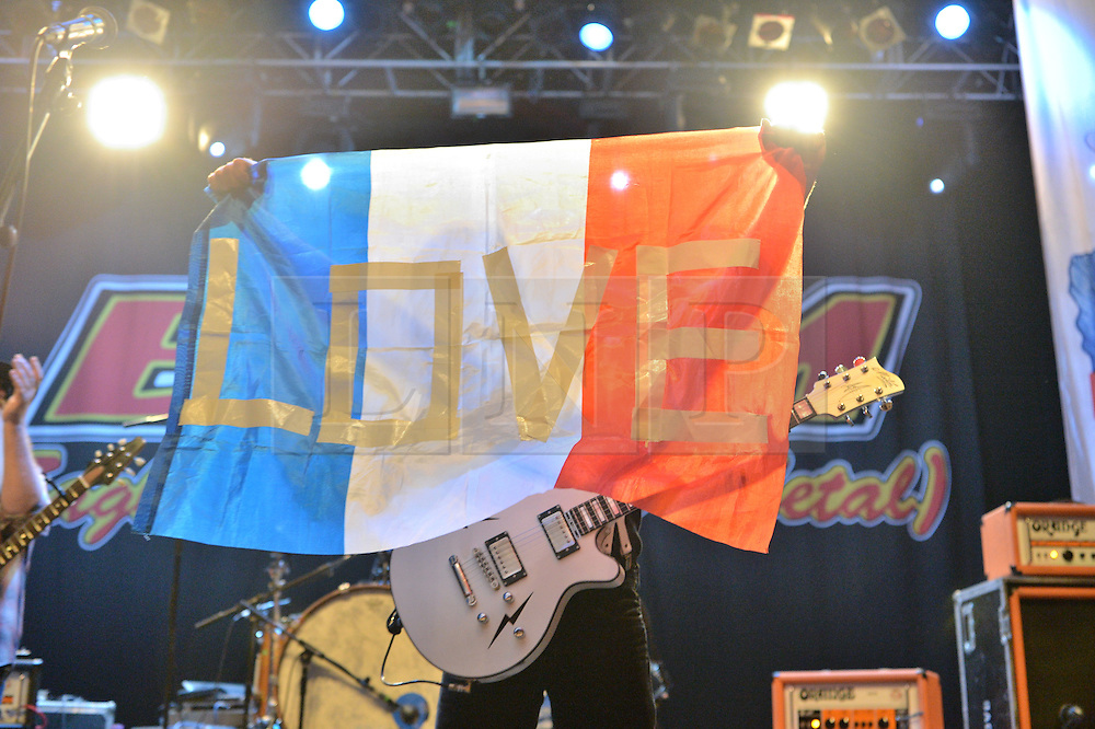 © Licensed to London News Pictures. 26/08/2016. Frontman JESSE HUGHES of band EAGLES OF DEATH METAL play a gig at The Forum.  On November 13, 2015, the band played a gig at Le Bataclan in Paris where 90 fans were killed during a terrorist attack.  London, UK. Photo credit: Ray Tang/LNP