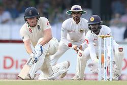 November 23, 2018 - Colombo, Sri Lanka - England cricketer Jonny Bairstow (L) plays a shot during the 1st day's play in the 3rd and final test cricket match between England and Sri Lanka at SSC international cricket stadium, Colombo, Sri Lanka. 11-23-2018  (Credit Image: © Tharaka Basnayaka/NurPhoto via ZUMA Press)