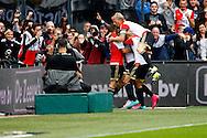 13-09-2015 VOETBAL:FEYENOORD-WILLEM II:ROTTERDAM<br /> Dirk Kuyt van Feyenoord springt boven op Eljero Elia van Feyenoord en viert zijn treffer<br /> <br /> Foto: Geert van Erven