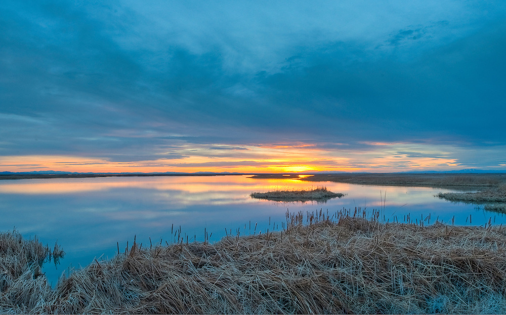Sunset over the marshes at the Stillwater National Wildlife Refuge, Nevada