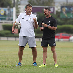 DURBAN, SOUTH AFRICA - OCTOBER 24: Robert du Preez (Head Coach) of the Cell C Sharks with Johan Pretorius Head Strength & Conditioning Coach of the Cell C Sharks during the Cell C Sharks training session at Growthpoint Kings Park on October 24, 2017 in Durban, South Africa. (Photo by Steve Haag/Gallo Images)