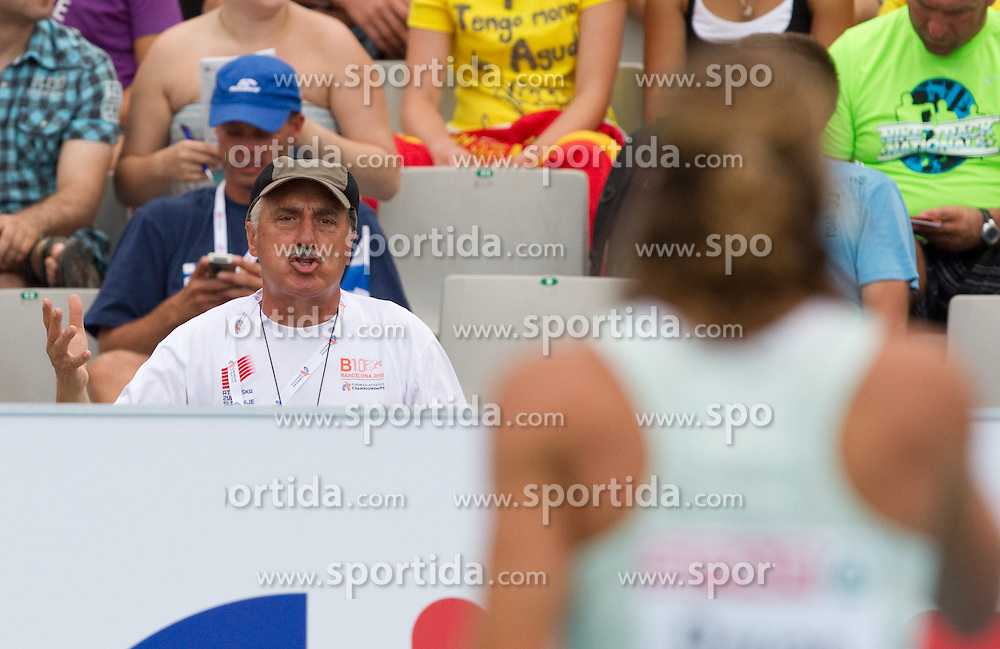Coach Slavko Cerne and Jurij Rovan of Slovenia during the Mens Pole Vault Qualifying during day three of the 20th European Athletics Championships at the Olympic Stadium on July 29, 2010 in Barcelona, Spain.  (Photo by Vid Ponikvar / Sportida)