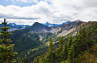 Mountains in the North Cascade mountains along the Pacific Crest Trail near Harts Pass, Washington, USA.