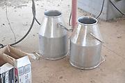 Israel, Goat Dairy farm milk buckets