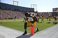 GREEN BAY, WI - OCTOBER 17: James Jones of the Green Bay Packers before the game against the Miami Dolphins at Lambeau Field on October 17, 2010 in Green Bay, Wisconsin. The Dolphins defeated the Packers 23-20 in overtime. (Photo by Tom Hauck) Player:James Jones
