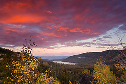 """Donner Lake Sunset 33"" - Photograph of aspen trees with their yellow fall colors, the background is an epic sunset and Donner Lake in Truckee, California."