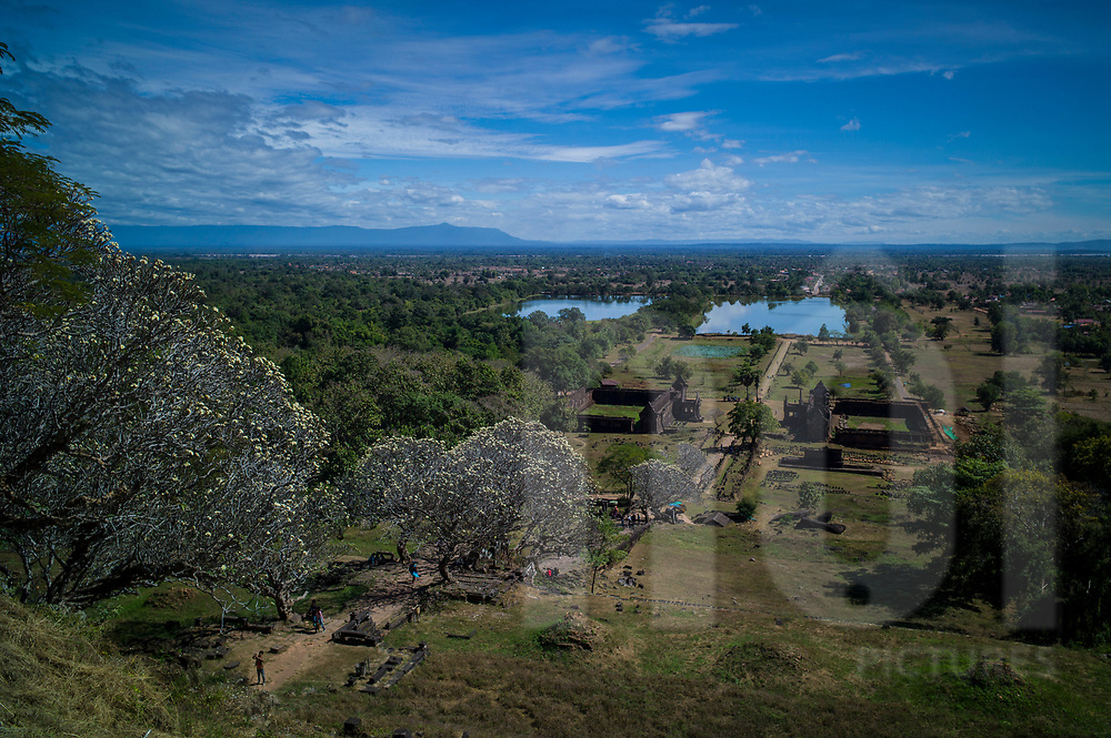 Landscape seen from the hill at Vat Phou temple complex (or Wat Phu), Champassak Province, Laos, Southeast Asia