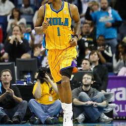 February 12, 2011; New Orleans, LA, USA; New Orleans Hornets small forward Trevor Ariza (1) against the Chicago Bulls during the fourth quarter at the New Orleans Arena. The Bulls defeated the Hornets 97-88.  Mandatory Credit: Derick E. Hingle
