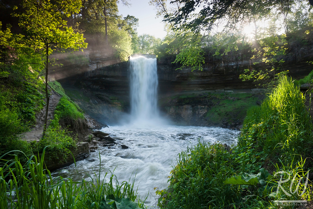 Ray of Light on Minnehaha Falls, Minneapolis, Minnesota