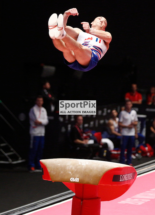 2015 Artistic Gymnastics World Championships being held in Glasgow from 23rd October to 1st November 2015.....Cyril Tommasone (France) competing in the Vault Table competition..(c) STEPHEN LAWSON | SportPix.org.uk