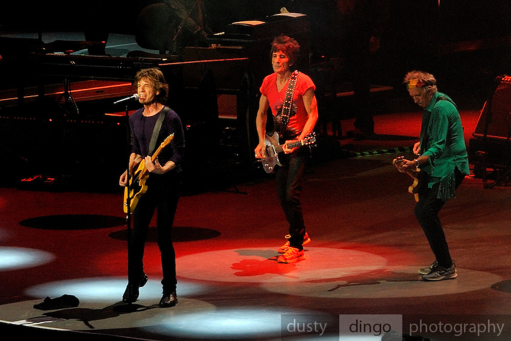Mick Jagger, Ronnie Wood and Keith Richards playing guitar together. 14 on Fire tour, Perth, Western Australia