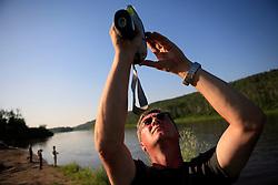 CANADA ALBERTA EDMONTON 24JUL09 - Greenpeace Germany campaigner Christoph von Lieven tests water samples of the river Athabasca at Fort McMurray, northern Alberta, Canada...jre/Photo by Jiri Rezac / GREENPEACE..© Jiri Rezac 2009