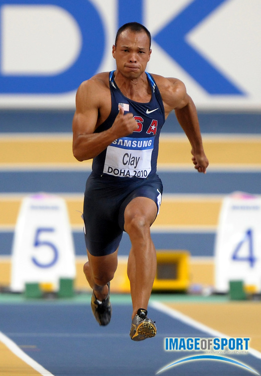 Mar 12, 2010; Doha, QATAR; Bryan Clay (USA) timed 6.67 in the heptathlon 60m for 1003 points in the IAAF World Indoor Championships in Athletics at the Aspire Dome.