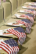 July 4, 2008 -- Phoenix, AZ: American flags for soon to be new US citizens on chairs at South Mountain Community College in Phoenix, AZ. About 300 people from 41 countries were naturalized as US citizens at South Mountain Community College, in Phoenix, AZ, Friday. It was the 20th year the college has hosted the Fiesta of Independence. More than 5,000 people have become naturalized US citizens at the Fiesta of Independence. More than 5,000 people have become naturalized US citizens at the Fiesta of Independence. The largest number of new citizens, 158, came from Mexico. There were also large numbers of new citizens from the Philippines, Bosnia-Herzegovnia and India.  Photo by Jack Kurtz
