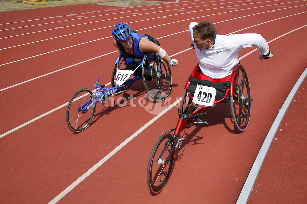 British Open Athletics Championships 2003 games; disabled athletes taking part in a track event,