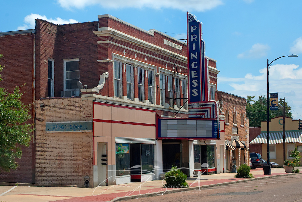 The Princess Theater is pictured in Columbus, Miss. Aug. 16, 2010. The theater was built in 1924 and endured an extended period of abandonment and neglect, but it is currently being restored to its original glory. (Photo by Carmen K. Sisson/Cloudybright)