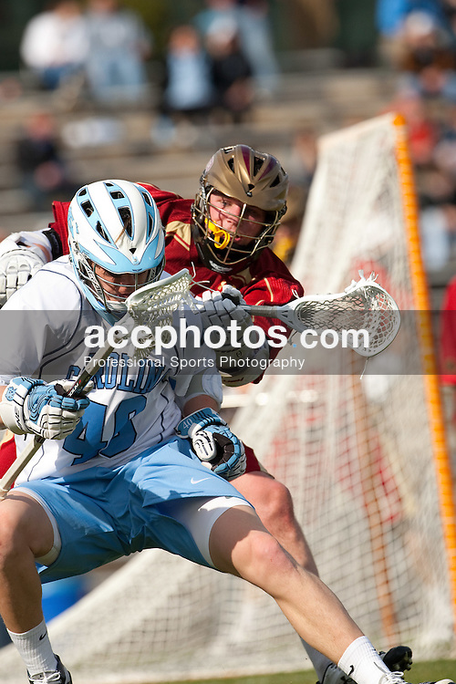 14 February 2009: North Carolina Tar Heels midfielder Jimmy Dunster (40) during a 20-7 win over the Denver Pioneers on Fetzer Field in Chapel Hill, NC.