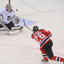 June 2, 2012: Los Angeles Kings goalie Jonathan Quick (32) makes a save on New Jersey Devils center Patrik Elias (26) during first period action in game 2 of the NHL Stanley Cup Final between the New Jersey Devils and the Los Angeles Kings at the Prudential Center in Newark, N.J.