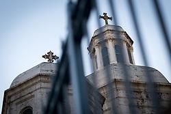 12 April 2019, Jerusalem: Churches seen through fence in the Jerusalem Old City.