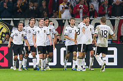 11.10.2011, Esprit Arena, Duesseldorf, GER, UEFA EURO 2012 Qualifikation, Deutschland (GER) vs Belgien (BEL), im Bild Jubel Deutschland nach dem 2 - 0 durch Andre Schürrle / Schuerrle (#9 GER, Bayer Leverkusen) // during the UEFA Euro 2012 qualifying round Germany vs Belgium  at Esprit Arena, Duesseldorf 2011-10-11 EXPA Pictures © 2011, PhotoCredit: EXPA/ nph/  Kurth       ****** out of GER / CRO  / BEL ******