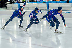 10-12-2016 NED: ISU World Cup Speed Skating, Heerenveen<br /> Team sprint USA Kimani Griffin,  Jonathan Garcia,  Mitchell Whitmore