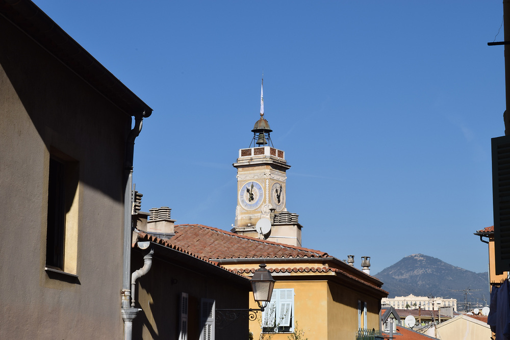 Clock tower in old Town Nice