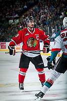 KELOWNA, CANADA - MAY 1: Nicolas Petan #19 of Portland Winterhawks faces off against the Kelowna Rockets on May 1, 2015 at Prospera Place in Kelowna, British Columbia, Canada.  (Photo by Marissa Baecker/Getty Images)  *** Local Caption *** Nicolas Petan;