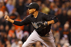 May 24, 2011; San Francisco, CA, USA;  Florida Marlins relief pitcher Leo Nunez (46) pitches against the San Francisco Giants during the ninth inning at AT&T Park. Florida defeated San Francisco 5-1.