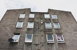 Exterior of ugly concrete apartment building Carnegie Court in Edinburgh, Scotland, UK
