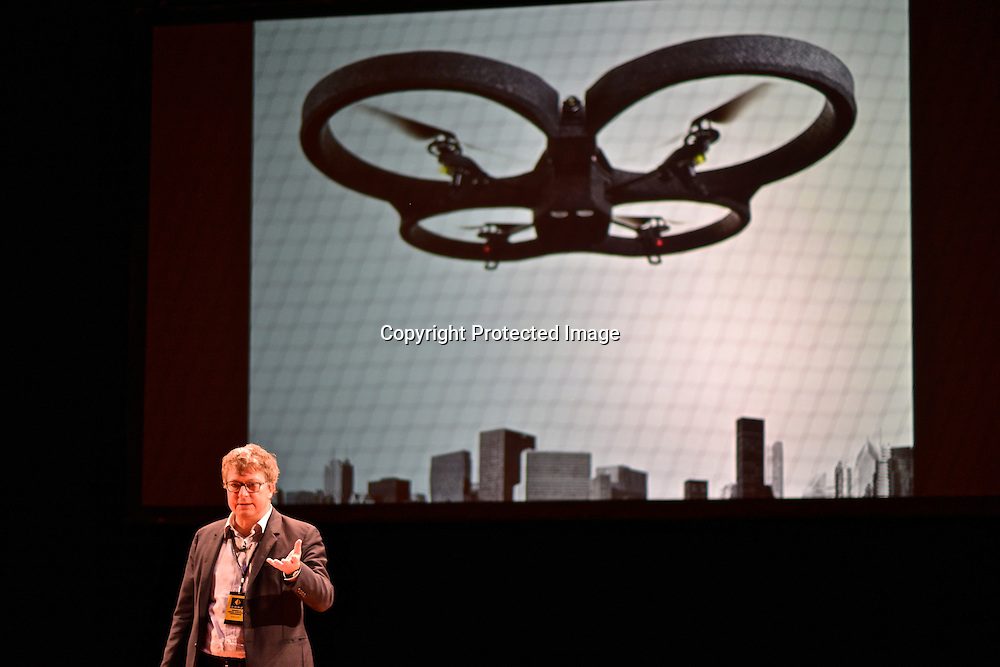 Henri Seydoux, CEO of Parrot, and creator of the AR Drone. Drones and Aerial Robotics Conference (DARC), held at New York University.