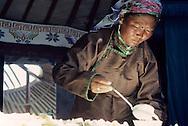 Mongolia. preparing a meal in a yurt in Sereglen  /  préparation du repas dans une famille à Sereglen  28    L921015a  /  P0000651