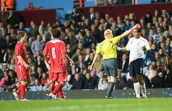 BIRMINGHAM, ENGLAND - Tuesday, October 14, 2008: England's Tom Huddlestone is set off during the UEFA European Under-21 Championship Play-Off 2nd Leg match at Villa Park. (Photo by Gareth Davies)