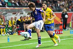 13.07.2011, Commerzbank Arena, Frankfurt, GER, FIFA Women Worldcup 2011, Halbfinale,  Japan (JPN) vs. Schweden (SWE), im Bild.Zweikampf zwischen Aya Miyama (Japan) (L) und Linda Forsberg (Schweden) (R).. // during the FIFA Women´s Worldcup 2011, Semifinal, Japan vs Sweden on 2011/07/13, Commerzbank Arena, Frankfurt, Germany.   EXPA Pictures © 2011, PhotoCredit: EXPA/ nph/  Mueller       ****** out of GER / CRO  / BEL ******