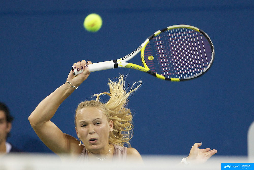 Caroline Wozniacki, Denmark, in action against Melanie Oudin, USA,  during the US Open Tennis Tournament at Flushing Meadows, New York, USA, on Wednesday, September 9, 2009. Photo Tim Clayton.