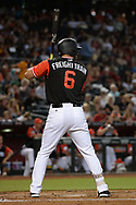 PHOENIX, AZ - AUGUST 26:  David Peralta #6 of the Arizona Diamondbacks wearing a nickname-bearing jersey stands at bat against the San Francisco Giants at Chase Field on August 26, 2017 in Phoenix, Arizona.  (Photo by Jennifer Stewart/Getty Images)