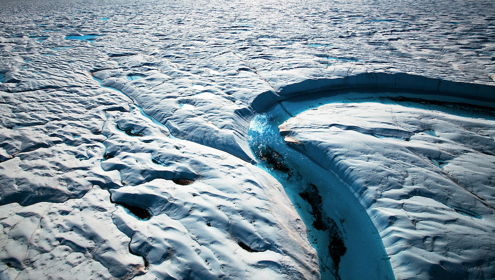 Blue Melt River, Petermann Glacier, in remote northwestern Greenland, on Nares Strait.