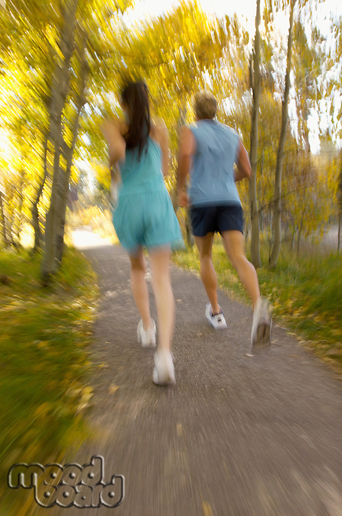 Couple jogging through woods rear view