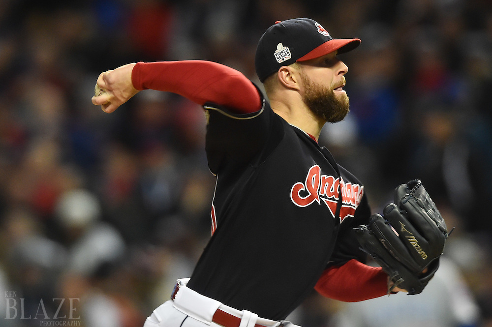 Oct 25, 2016; Cleveland, OH, USA; Cleveland Indians starting pitcher Corey Kluber throws a pitch against the Chicago Cubs in the 5th inning in game one of the 2016 World Series at Progressive Field. Mandatory Credit: Ken Blaze-USA TODAY Sports
