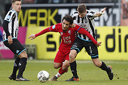 (L-R) Reuven Niemeijer of Heracles Almelo, Yassin Ayoub of FC Utrecht, Tim Breukers of Heracles Almelo during the Dutch Eredivisie match between FC Utrecht and Heracles Almelo at the Galgenwaard Stadium on December 17, 2017 in Utrecht, The Netherlands