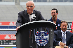 Aug 8, 2013; New York, NY, USA; New Jersey Devils General Manager Lou Lamoriello  speaks at a press conference at Yankee Stadium. Two outdoor regular-season NHL games will be played at Yankee Stadium during the 2013-14 season as part of the 2014 Stadium Series.