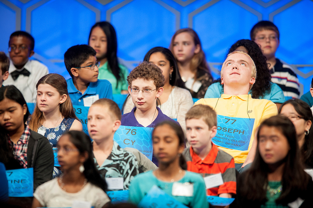 Joseph Batis, 14, of Kokomo, Indiana, participates in round two of the preliminaries of the 2015 Scripps National Spelling Bee on May 27, 2015 at the Gaylord National Resort and Convention Center in National Harbor, Maryland.