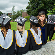 """23.08.2016        <br /> Over 300 students graduated from the Faculty of Arts Humanities and Social Sciences at the University of Limerick today. <br /> <br /> Attending the conferring ceremony were graduates, Aga Bojdol, Mallow Co. Cork, BA in Psychology and Sociology, Roisin O'Keeffe, Youghal Co. Cork, BA in Psychology and Sociology,Tessa Kingstone, Kinsale Co. Cork, BA in Psychology and Sociology with Kate O'Mahony North Circular Road, Limerick, Bachelor of Law. Picture: Alan Place.<br /> <br /> <br /> <br /> <br /> UL Graduates Employability remains consistently high as they are 14% more likely to be employed after Graduation than any other Irish University Graduate<br /> Each year, the Careers Service collects information about the 'First Destinations' of UL graduates. During the April/May period following graduation, we survey those who have completed full-time undergraduate and postgraduate courses for details on their current status. This current survey was conducted nine months after graduation and focuses on the employment and further study patterns of the graduates of 2015. A total of 2,933 graduates were surveyed and a response rate of 87% was achieved. <br /> As the University of Limerick commences four days of conferring ceremonies which will see 2568 students graduate, including 50 PhD graduates, UL President, Professor Don Barry highlighted the continued demand for UL graduates by employers; """"Traditionally UL's Graduate Employment figures trend well above the national average. Despite the challenging environment, UL's graduate employment rate for 2015 primary degree-holders is now 14% higher than the HEA's most recently-available national average figure which is 58% for 2014"""". The survey of UL's 2015 graduates showed that 92% are either employed or pursuing further study."""" Picture: Alan Place"""